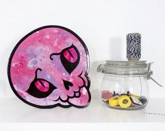 Original Painting - Skull shaped acrylic painting ready to hang
