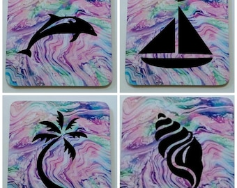 Set of four corked backed coasters decorated with commercial grade vinyl, your design choice