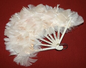 Vintage Petite Victorian Feather Fan Civil War Edwardian Flapper Cosplay