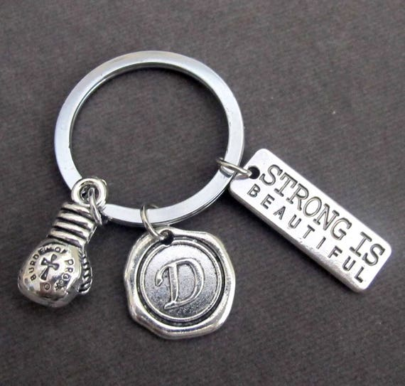 Strong is Beautiful Keychain,Strong is Beautiful Charm,Boxing Glove Charm,Boxer's Gift,Boxing Keychain,Personalized Boxer, Free Shipping USA