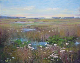 Summer Wetlands with wildflowers Art Original Pastel Painting  8x10