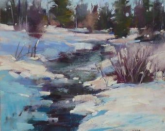 Winter Landscape Contemporary Original Pastel Painting  Karen Margulis 10x10