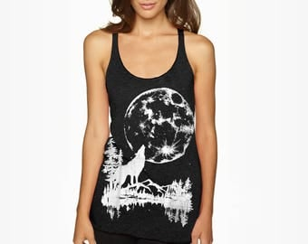SIZE Small- Tri-Blend Black Racerback Tank with Moon Wolf Screen Print