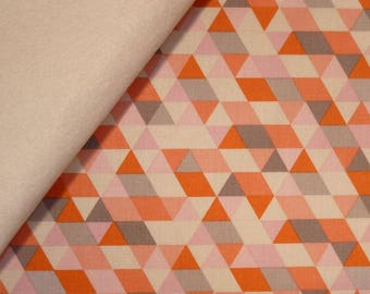 Ava Rose fabric felt  :  Coral Triangles on Natural