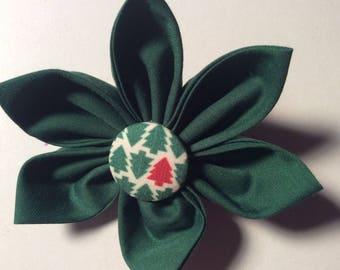 Christmas Hunter Green Fabric Flower Brooch Pin