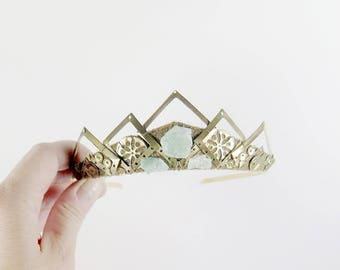 Yara Amethyst and Gold Filigree Crystal Tiara - by Loschy Designs
