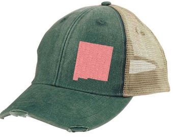 New Mexico Hat - Distressed Snapback Trucker Hat - off-center state pride hat - Pick your colors