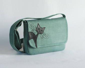 Green  linen messenger, leather cat applique, small purse, black cat bag, linen purse, handbag
