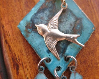"""Sterling Sparrow and Blue Patina Brass Diamond Pendant Necklace - 20"""" in length"""