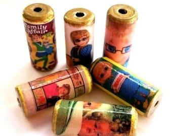 Mrs. Beasley Vintage Doll Beads -  Handmade Paper Tube Beads - Set/6 -  PB34 - #B