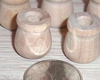 Wood Jars 5 for Miniature Doll House Paintable