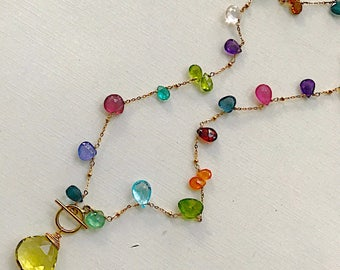 Lemon Topaz front clasp Toggle Necklace with Multiple Gemstones