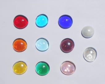 Pick ONE COLOR 15-17mm glass gems Assorted Colors/ One Color Per Set of 5, 10 or 20