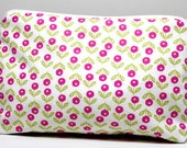 White Mod Floral Medium Project Bag Or Cosmetic Bag