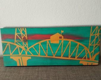 Hawthorne Bridge Portland Oregon Cedar Wood Plank Wall Art