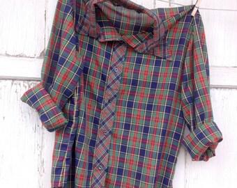 CRAZY SALE- Vintage Plaid Shirt-Women- Retro Holiday Plaid