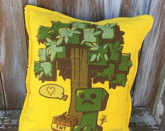 40% OFF- Minecraft Throw Pillow--Upcycled Eco Friendly-Quilted-Baby Creeper