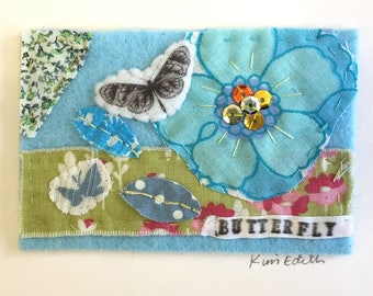 Butterfly Mini Textile Collage Artwork