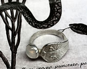 The Sisssss ring/fine silver .999 and Moonstone/ size 7.75 US/ hammered band