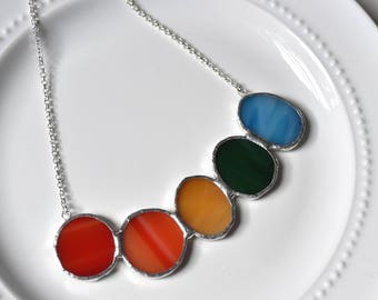 Cluster Stained Glass Jewelry Necklace  - Stained Glass Rainbow