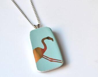 Broken China Jewelry Pendant - Golden Teal Flamingo