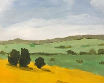 landscape painting yellow landscape rural landscape original landscape 16x20