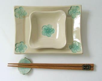 Handbuilt, Hand Painted, Footed Ceramic Sushi Set,  Peach Blossom