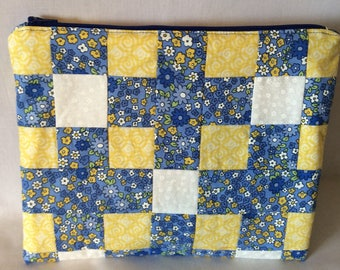 Blue and Yellow Patchwork Zippered Pouch/Cosmetic Case