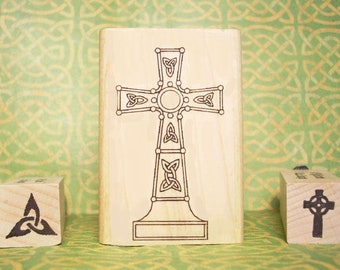 Celtic Trinity Knot Cross Rubber Stamp Set of 3 Ancient Ireland Scotland Easter