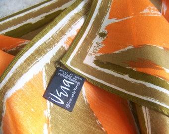 Vera Ladybug Scarf . Orange and Brown . Tangerine . 31 x 29.5 Inches