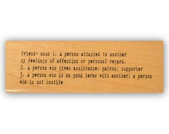 Friend Definition mounted rubber stamp, dictionary, friendship, Crazy Mountain Stamps #8