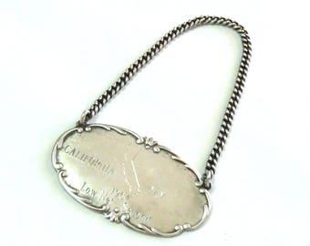 Antique Sterling Silver Webster Art Nouveau Decanter Liquor Tag Victorian Fleur de Lis  Engraved Label