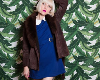 Vintage 1970's Brown Suede and Faux Fur Warm Lined Coat with Belt