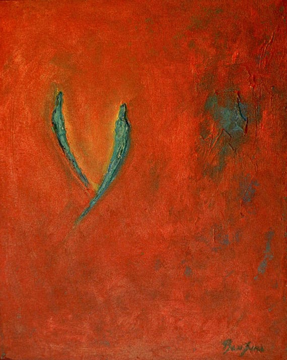 SOULMATE Valentines Art ORIGINAL Abstract Red Turquoise - Ready to Hang 20x16 Fine Art by BenWill