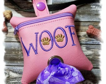Dog Poop Bag Holder, Pink Dog Poop Bag Dispenser, Waste Bag Holder, Leash Dispenser,Zipper Bag, Leash Accessory, Zipper Pouch, Dog Duty Bag