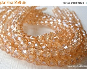 25% OFF Sale Czech Glass Beads - 4mm Faceted Round Champagne Luster