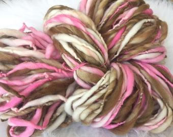 Yarn Handspun Thick and thin -NEOPOLITAN - merino, crochet, knit, weaving, supplies, craft supplies, doll hair 110yds