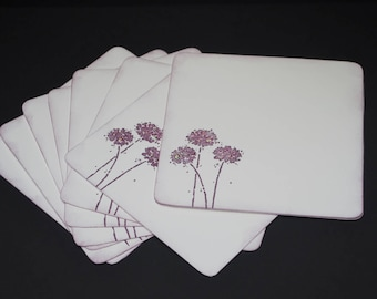 Flower Trio in Plum, set of 8 flat cards, hand stamped, glitter embellishment, square flat cards, plum purple