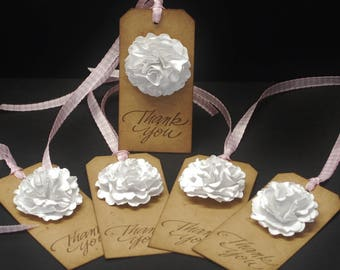 Thank You, chipboard tags, hand stamped hang tags, set of 5, wedding favors, party favors, Kraft chipboard, paper flower, 3D flower, floral