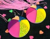 Rainbow Beach Ball Earrings, Laser Cut Acrylic, Plastic Jewelry