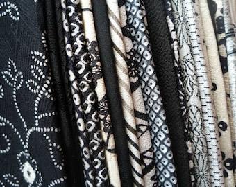 Black Silk Kimono Remnants, Japanese Vintage Fabric Scraps Monotone Mix, Various Patterns, Craft Supply for Handmade Remake