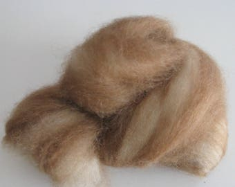 Fawn and White Swirled Alpaca Roving - 2 ounces - to Spin and Felt