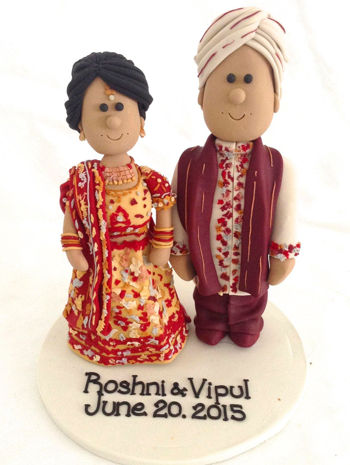 Personalized Indian Wedding Cake Topper   Sari Cake Top   Hindu Cake Top    Sikh Wedding