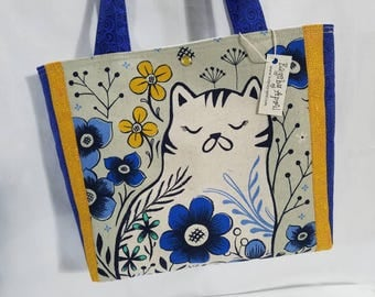 Calico Kitty Cat on Canvas Blue Yellow Garden Flowers purse tote bag