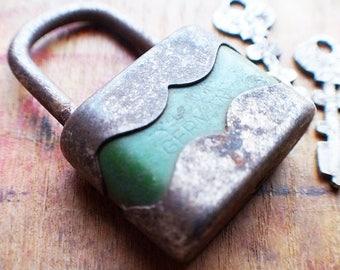Antique German Padlock with Keys // Summer SALE - Save 15% - Coupon Code SUMMER15