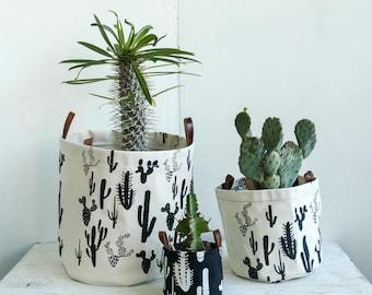XL Fabric Bucket—Cactus Print