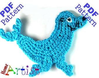 Seal + Plants crochet Applique Pattern