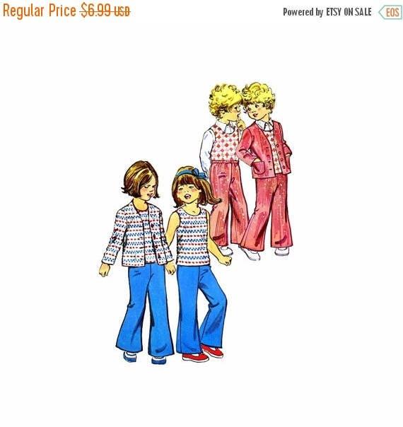 6b63a9ae8 SALE 1970s Childs Cardigan Jacket Top Pants Simplicity 6185 Vintage ...