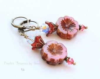 Pink Hawaiian Czech Glass Flowers Pink Pansy Flowers Red Bell Flowers Brass Earrings Swarovski Crystals Boho Earrings