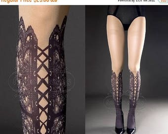 30%off/endsJUL23/ Tattoo Tights,  nude color one size Lace Up print full length closed toe printed tights pantyhose, tattoo socks